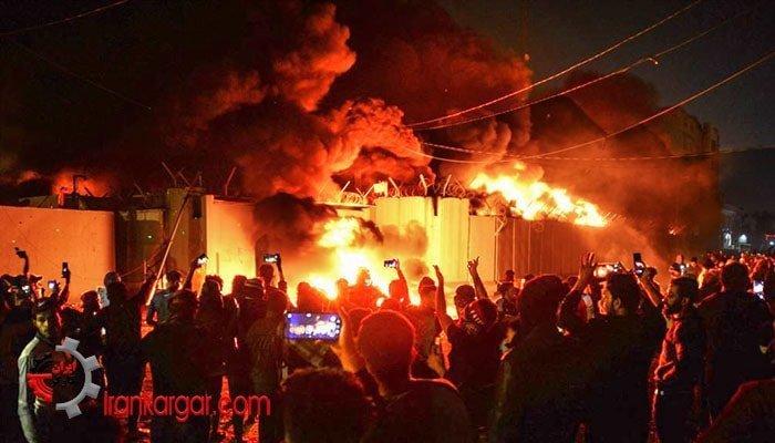 به آتش کشیدن کنسولگری ایران در نجف