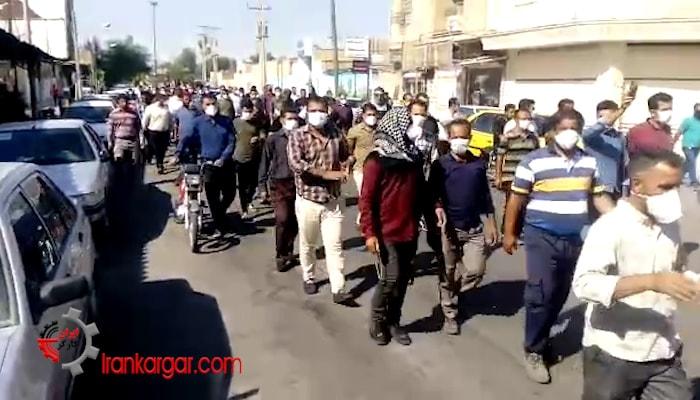 راهپیمایی کارگران نیشکر هفت تپه در شهر شوش