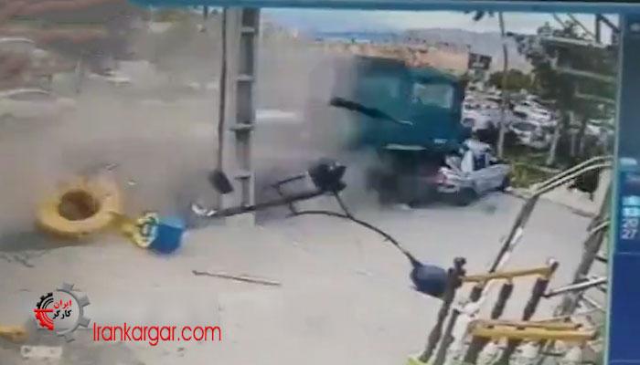 تصادف کامیون در شهر دماوند