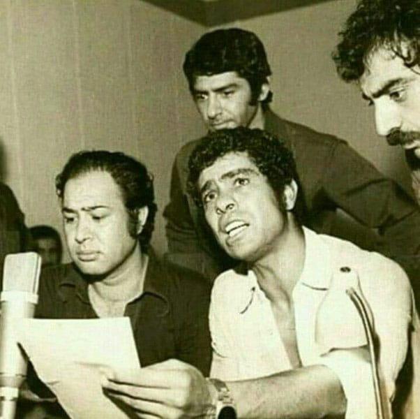 مسعود کیمیایی، بهروز وثوقی ، حسین عرفانی و فرامرز قریبیان حین صداگذاری گوزنها
