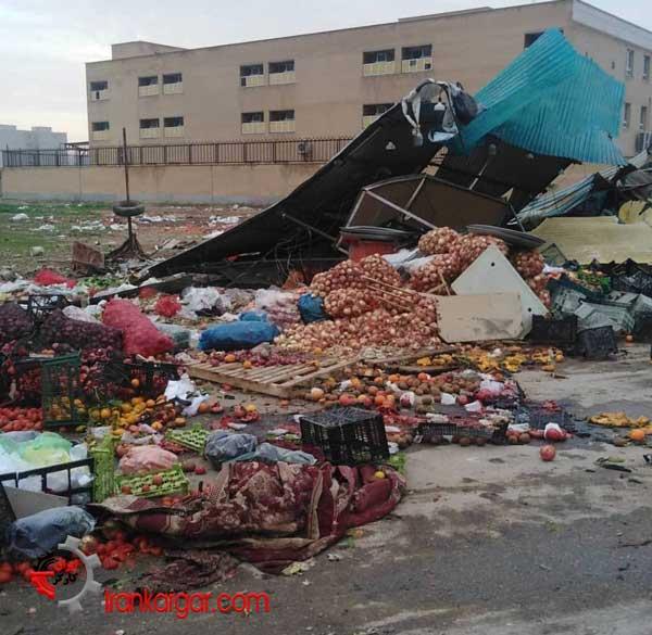 تخریب بساط دستفروشان خیابان کارگر اهواز با بلدوزر