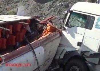 تصادف مرگبار اتوبوس با کامیون در محور منوجان به رودان