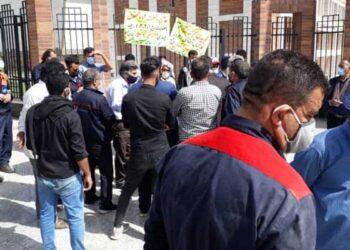 تجمع اعتراضی کارگران آبفا اهواز