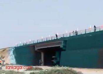 فیلم دلخراش خودکشی و لحظه پریدن یک راننده کامیون از بالای پل زیرگذر