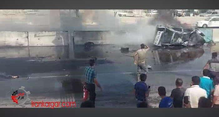 فیلم دلخراش زنده در آتش سوختن دو سوختبر بر اثر تیراندازی ماموران در بندرعباس