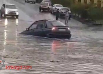 سیل در تبریز و به زیر آب رفتن خودروها و خیابانها