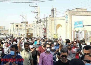 تجمع و راهپیمایی اعتراضی در نوزدهمین روز اعتصاب کارگران هفت تپه در شهر شوش
