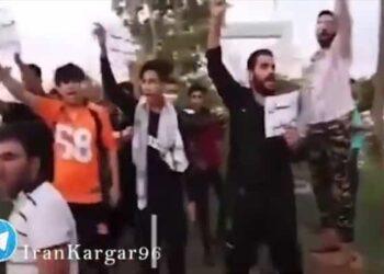 فیلم تجمع مردم شهرهای رباط کریم و میبد در حمایت از اعتراضات مردم خوزستان
