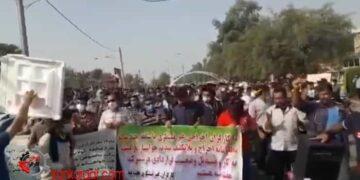 خروش کارگران هفت تپه در خیابانهای شهر شوش در بیست و دومین روز اعتصاب